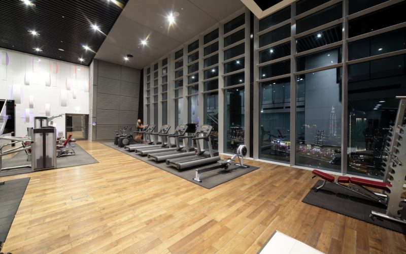 22133485 - bright european gym with a lot of windows